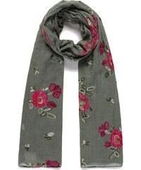 Vyšívaný šátek, šátek na krk s vyšívanými květinami INTRIGUE (2 ks skladem) mint Dopravné zdarma!