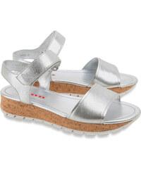 Sandales compensées bas Prada en cuir nappa argent
