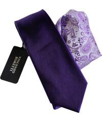 Vincenzo Boretti Luxusní plesový set kravaty a kapesníčku - fialový