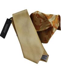 Vincenzo Boretti Luxusní plesový set kravaty a kapesníčku - zlatá