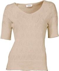 LINEA TESINI LINEA TESINI návrhářský dámský svetr s krátkým rukávem, svetr pískový