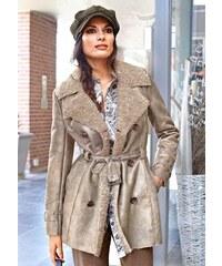 Aniston ANISTON dámský kabát z imitace kůže, kabát s umělou kožešinou