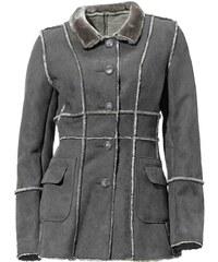 HEINE HEINE prošívaný dámský kabát z umělé kůže v semišovém vzhledu