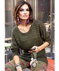 Aniston ANISTON návrhářský módní svetr, dámský svetr v olivové barvě