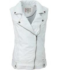 Pepe Jeans PEPE JEANS vesta z jehněčí kůže, vesta s asymetrickým zipem