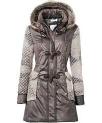 HEINE DÁMSKÝ KABÁT PATCHWORK HEINE, dámský kabát s kapucí v barvě šedohnědé