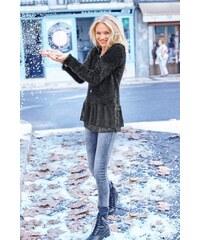 Damen Longpullover mit Flauschgarn und Spitzenvolant Aniston schwarz 34,36,38,40,42,44