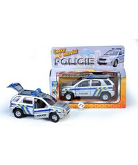 Teddies Auto policie kov 14cm na zpětné natažení na baterie 3xLR41 se zvukem se světlem v krabičce