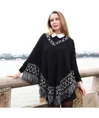 Lesara Poncho im Folklore-Stil Schwarz - Schwarz - S