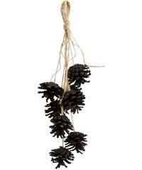 Madam Stoltz Dekorativní šišky na provázku Black