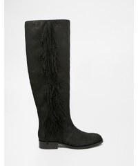 Sam Edelman - Josephine - Bottes plates hauteur genou en cuir avec des franges - Noir - Noir
