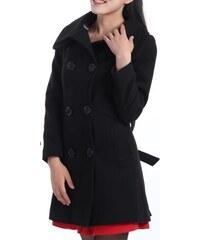 Dámský propínací dvouřadový kabát černý