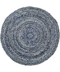 Bloomingville Kulatý proplétaný kobereček Blue Denim