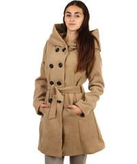 TopMode Úžasný delší kabátek s neobvyklou kapucí hnědá
