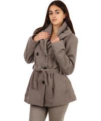 TopMode Moderní kabátek s dvojím límcem světle šedá