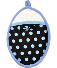 Hnědá kuchyňská chňapko-podložka s modrými puntíky