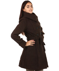 TopMode Stylový delší kabát s výrazným límcem tmavě hnědá