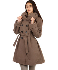 TopMode Stylový delší kabát s výrazným límcem hnědá