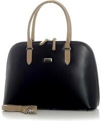 Dámská kožená kabelka MAZZINI Simona - černo-béžová