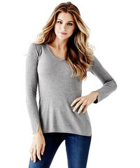 1146325b90f Svetr Guess Slit Ribbed-Knit Sweater šedý