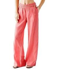 Guess Kalhoty Wide-Leg Linen Pants