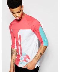 Pink Dolphin - T-Shirt mit 3/4-Ärmeln und Ball-Aufdruck - Weiß