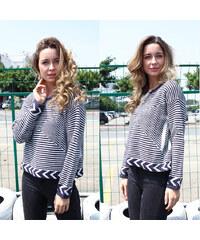 Lesara Pullover mit blau-weißem Streifen-Muster - S