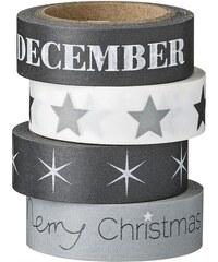 Bloomingville Vánoční papírová páska Black, Grey & White Hvězda na černé