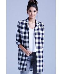 LA FEMME Kostkovaný lehký kabát modro-bílé barvy