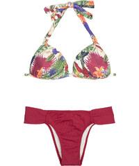 Maryssil Maillots de bain femme Bikini Triangle Fleuri, Bas Fixe Bordeaux - Flor Vermelho