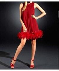 Apart Šifonové společenské šaty s peříčkovým boa v červené barvě od APART 2e46e0de82
