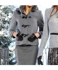 Apart APART krátký kabát, bunda s kapucí šedý i pro plnoštíhlé