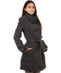 TopMode Unikátní kabát s kontrastním lemováním šedá