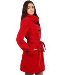 TopMode Unikátní kabát s kontrastním lemováním červená