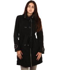 TopMode Unikátní kabát s kontrastním lemováním černá