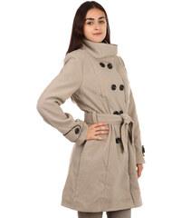 TopMode Unikátní kabát s kontrastním lemováním béžová