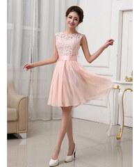 LM moda A Plesové šaty krátké s krajkou jemně meruňkové 840a273509