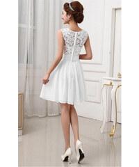 LM moda A Plesové šaty krátké s krajkou bílé e502249385