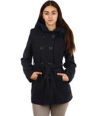 TopMode Moderní kabátek s kapucí a kožešinou. modrá