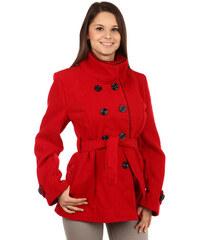 TopMode Zajímavý kabát s kontrastním lemováním a s moderním límcem červená