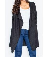 Dlouhý vlněný plášť, dlouhý vlněný svetr, Figl S černá