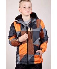 SAM 73 Chlapecká bunda s abstraktním potiskem se SKI pásem BB 50 179 - oranžová neon