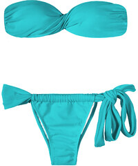 Rio De Sol Bikini Bandeau Bleu à Coques, Bas Réglable à Nouer - Tahiti Torcido Lace