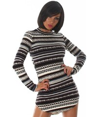 Neuvedena Dámský svetr s retro vzorem černobílý