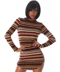 Neuvedena Dámský svetr s retro vzorem hnědý