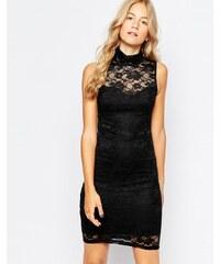 Vero Moda - Hochgeschlossenes Minikleid aus Spitze - Schwarz