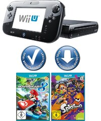 NINTENDO WIIU Wii U Premium Pack + Mario Kart 8 + Splatoon Konsolen-Set mit 3 Jahren Garantie *
