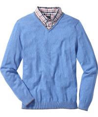 bpc selection Pull avec col chemise Regular Fit bleu manches longues homme - bonprix