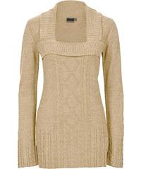 BODYFLIRT boutique Pull en maille beige femme - bonprix