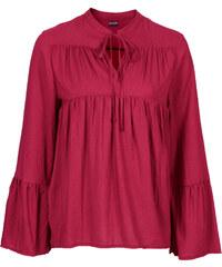 BODYFLIRT Bluse langarm in rot (V-Ausschnitt) von bonprix